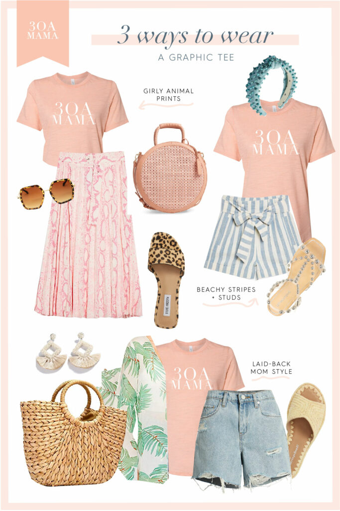 30A Mama Shopping - 3 Ways to Wear Graphic Tee