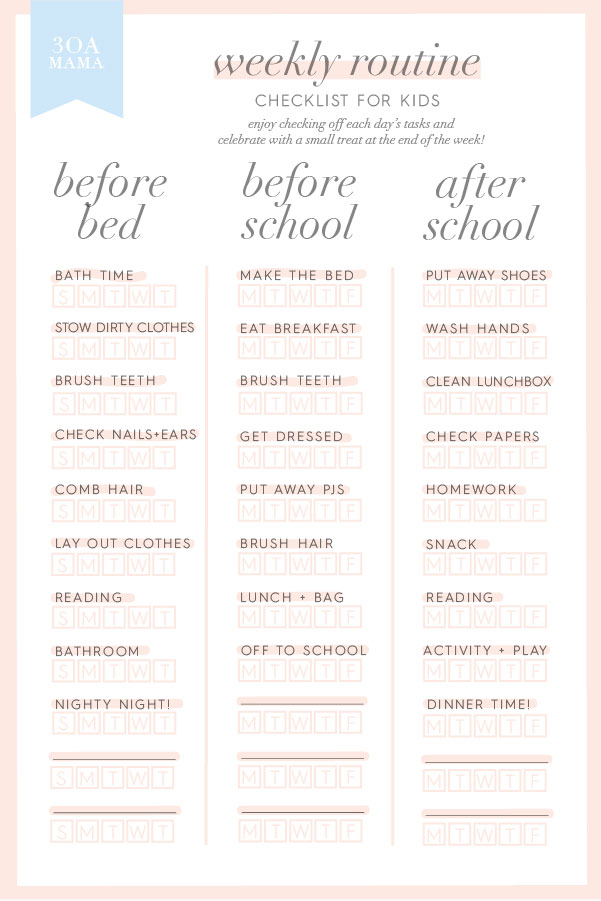 30A Mama Checklist - Kids Routine Back to School Checklist