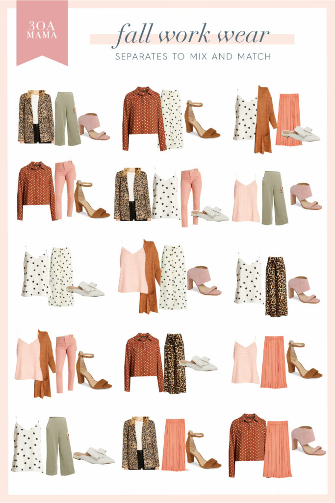 30A Mama Shopping - Fall Work Wear Capsule Wardrobe Combos