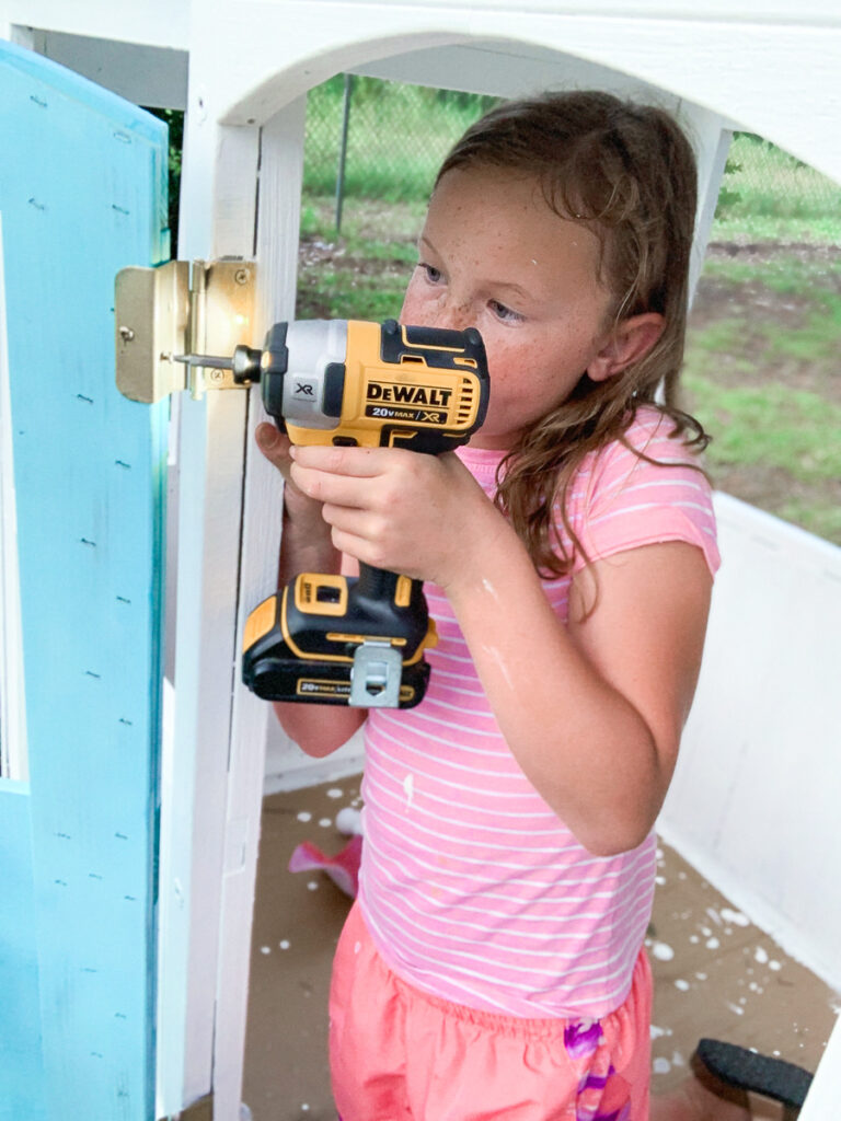 KidKraft Playhouse Makeover - Beach House 30A Mama Power Tools