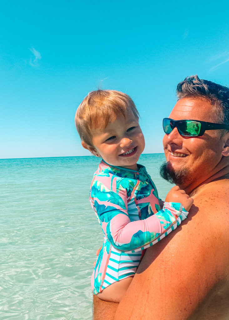 30A Mama wearing Cabana Life swimsuits Daddy and Collins