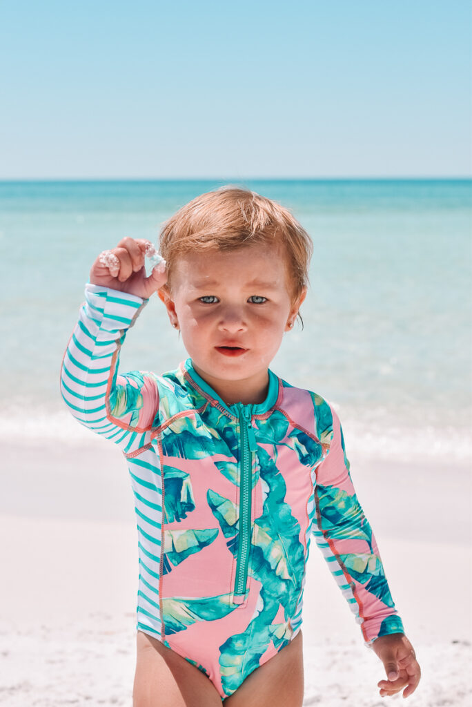 30A Mama wearing Cabana Life swimsuits finding shells