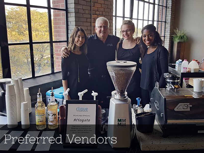A photo of Clique Coffee preferred vendors at a wedding reception