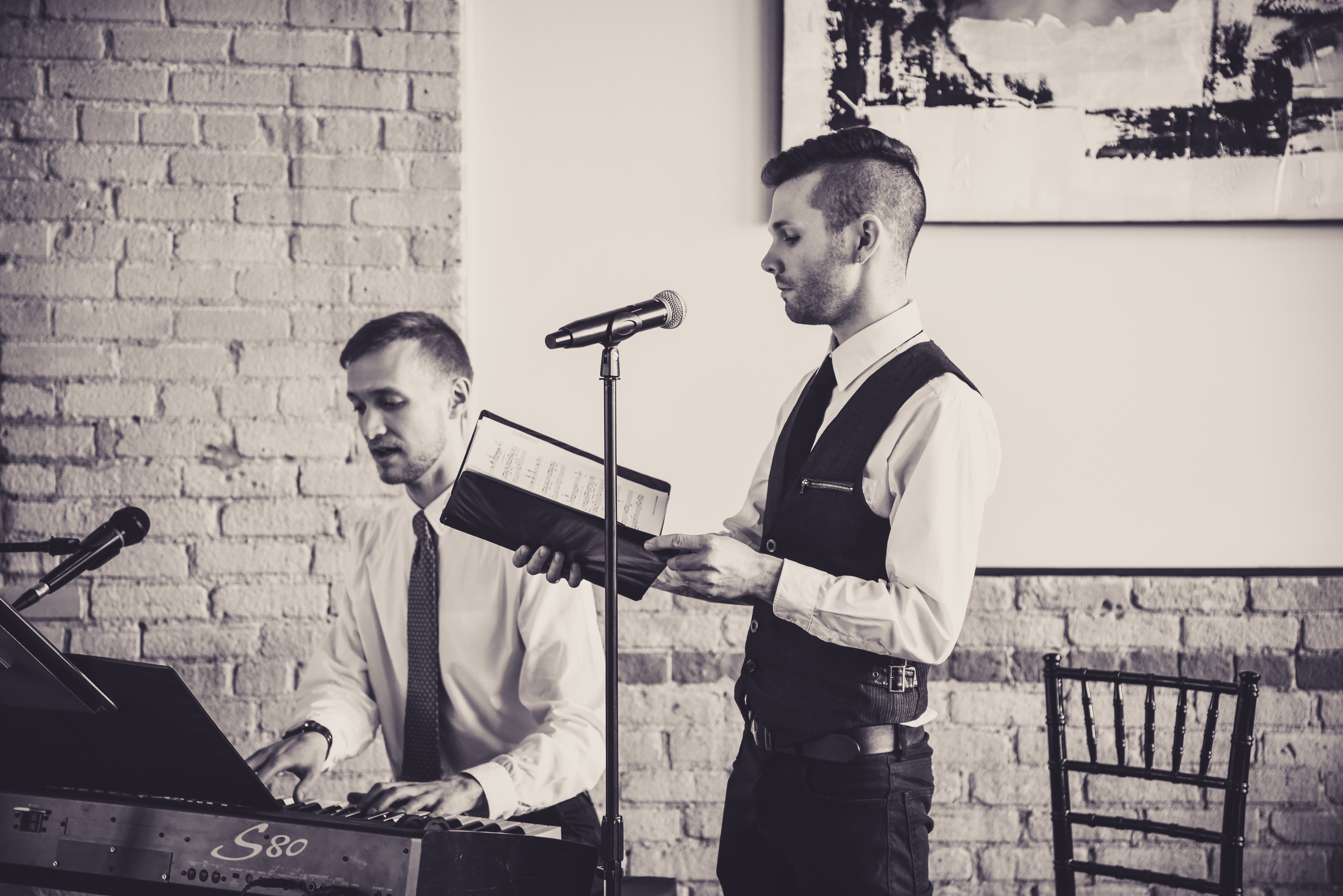 musical duet during wedding ceremony