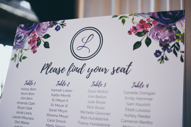 custom table assignment poster with watercolor flowers