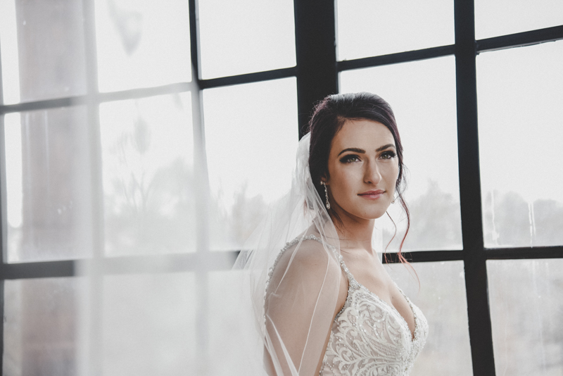dark haired bride in a lace wedding dress in front of a large window with her veil drifting away