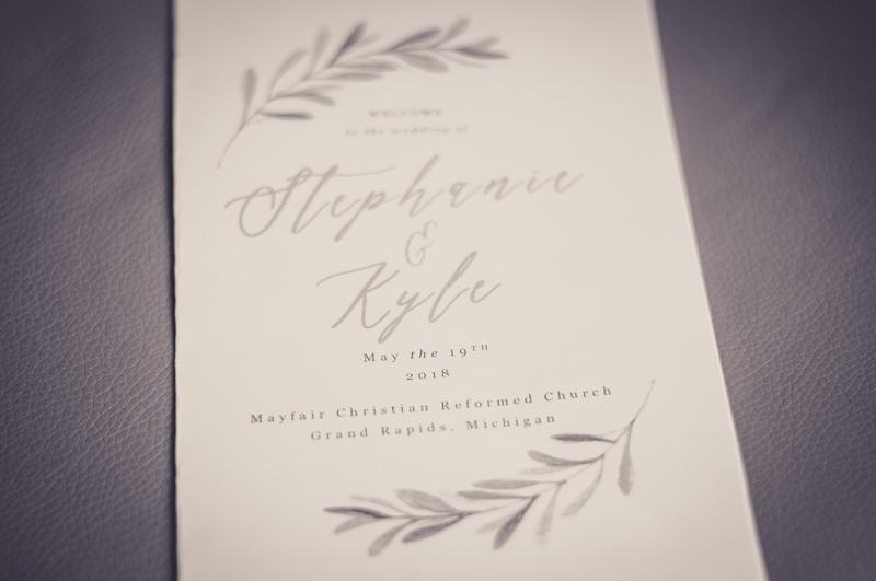 black and white photo of a wedding program