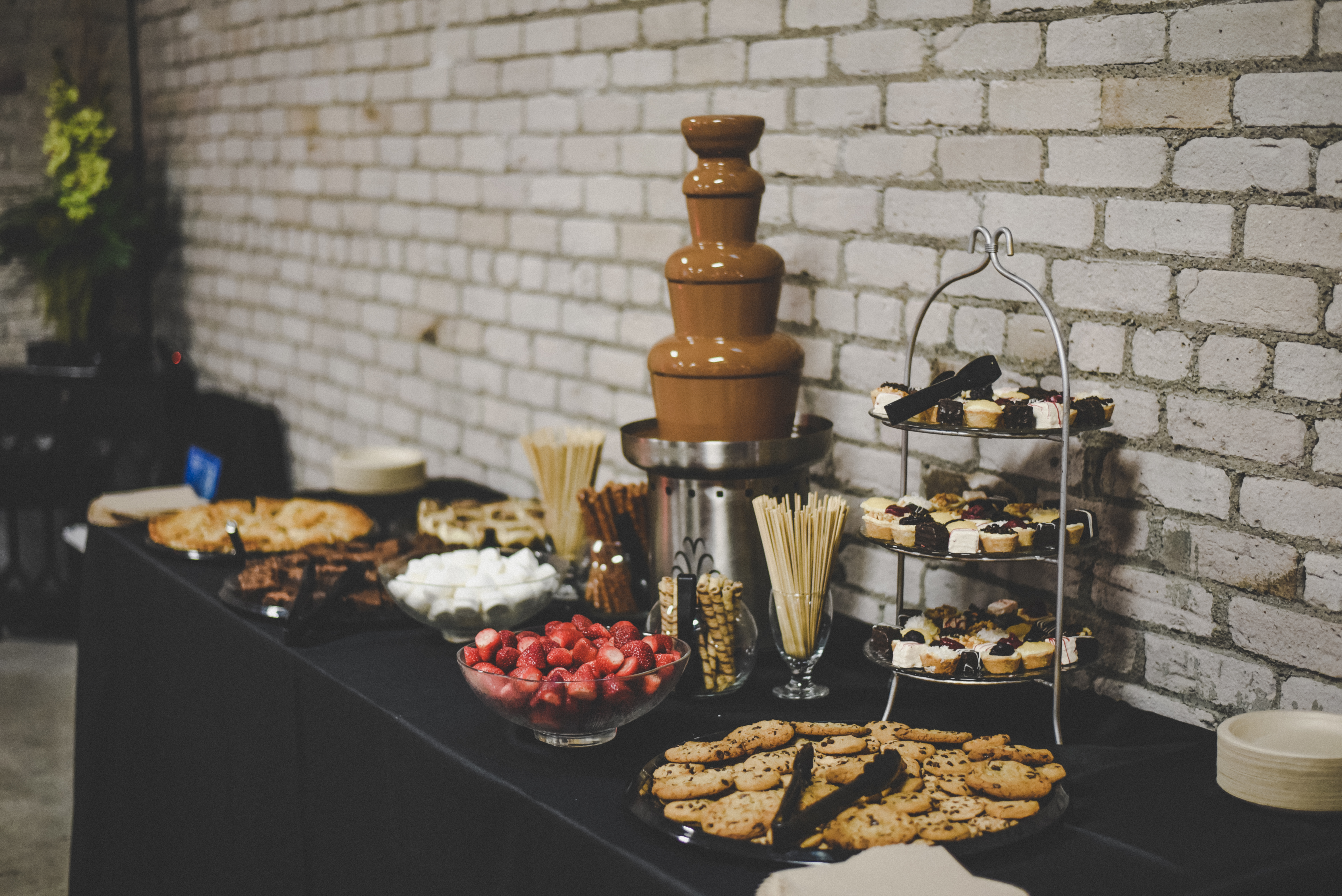 wedding dessert bar with chocolate fountain