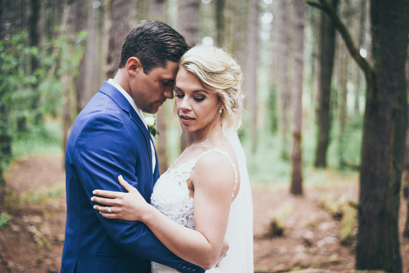 romantic image of a bride and groom in a pine forest
