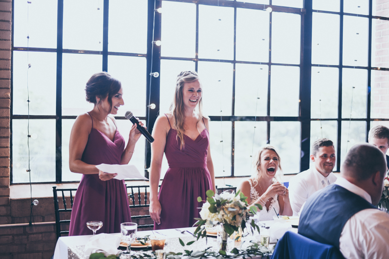 bridesmaids giving speech at wedding