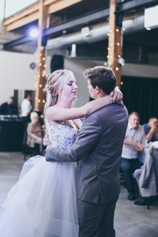 bride and groom's first dance at their wedding reception