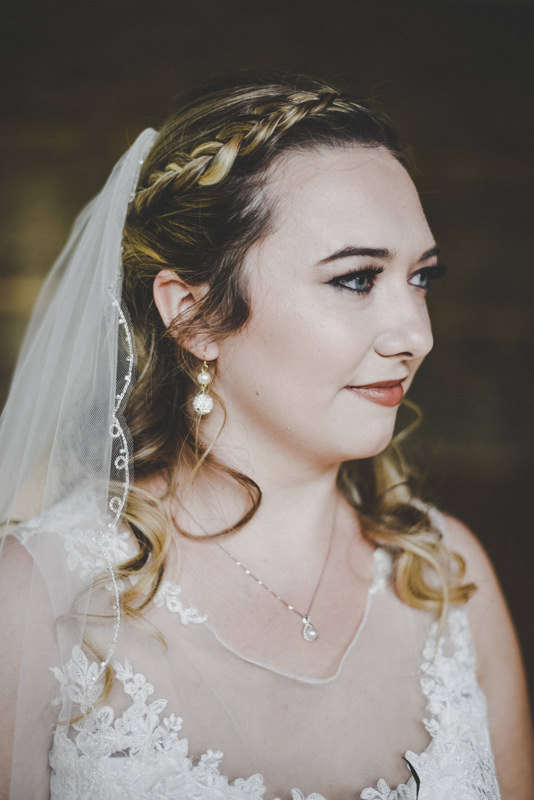close up portrait of a bride in a veil