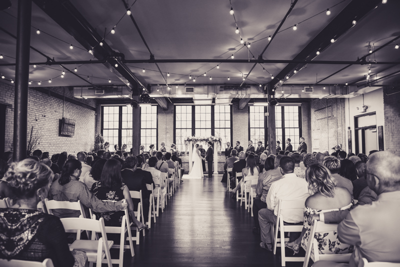 black and white image of a loft wedding venue