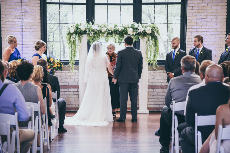 bride and groom at the altar during their ceremony