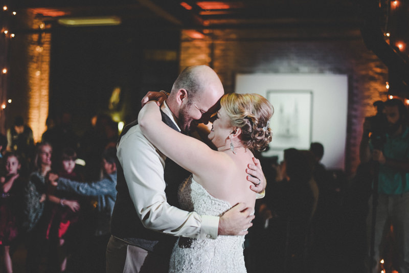 bride and groom's first dance at a wedding reception