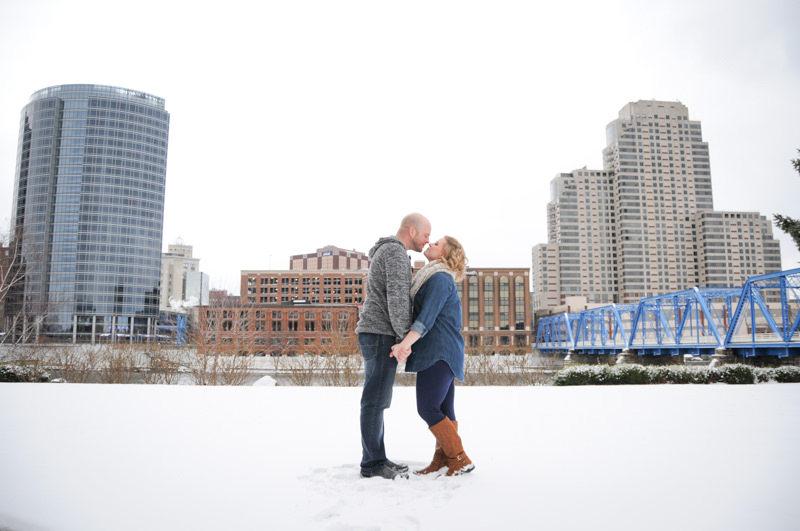 engagement photos in downtown grand rapids