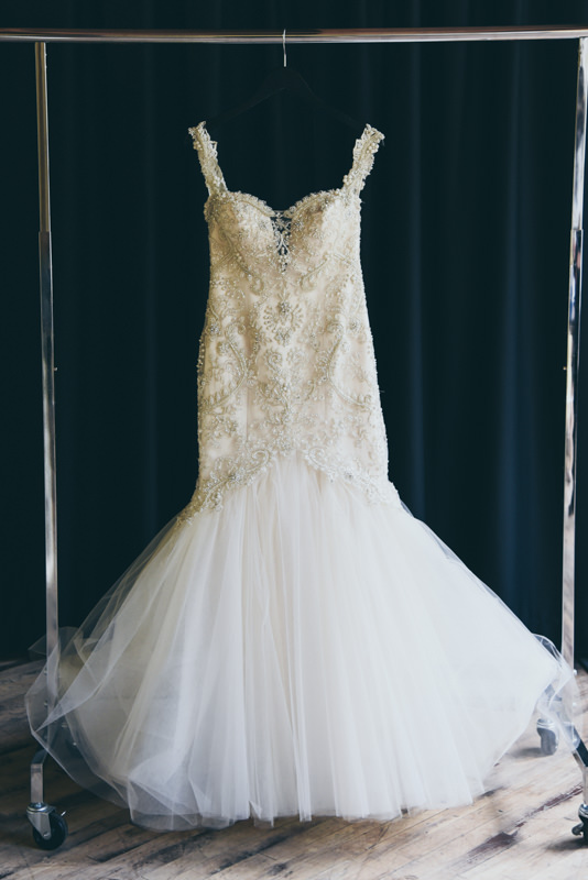 a jeweled wedding gown