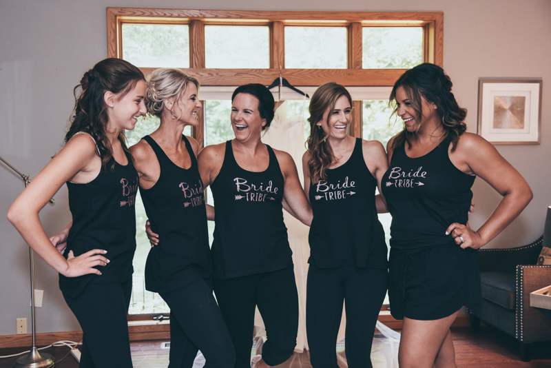 bride with bridesmaids in custom tank tops