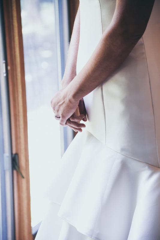 close up of brides hands after she is dressed