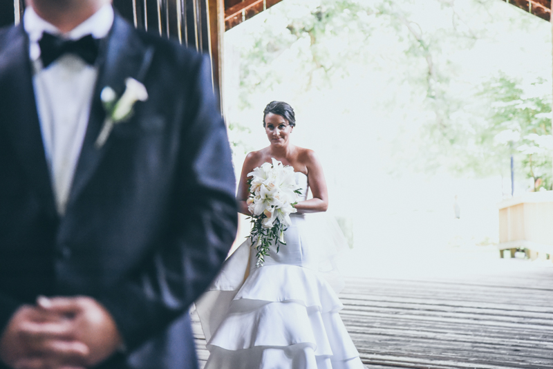 bride and groom during first look