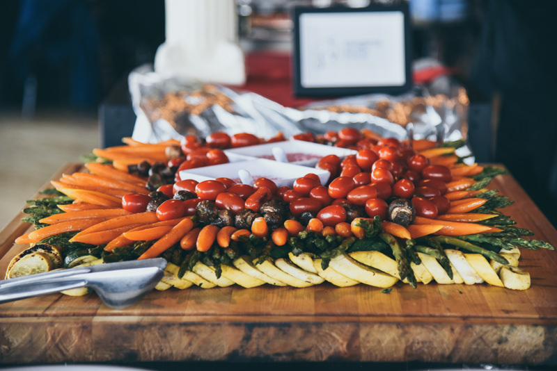 veggie display at a catered wedding