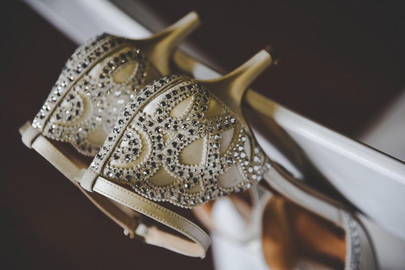 golden filigree wedding shoes