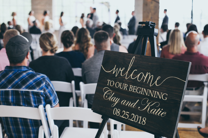 wedding sign behind the guests at ceremony
