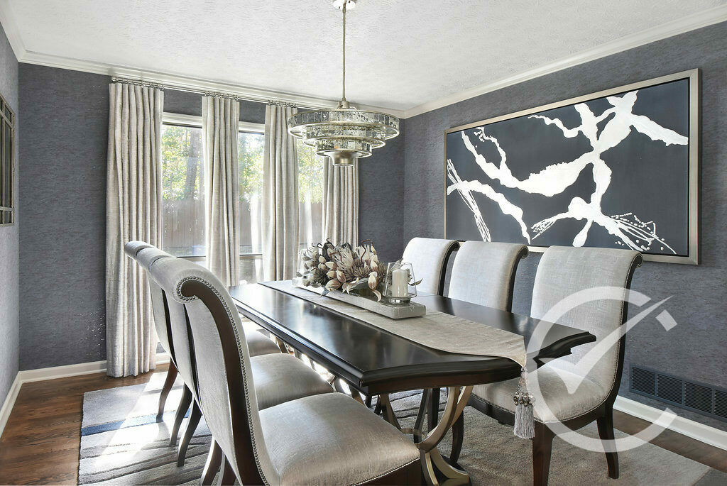 Contemporary Dining room with custom centerpiece and drapery Chosen Interiors