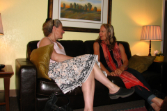 Two patients talking in waiting room at South Reno Acupuncture
