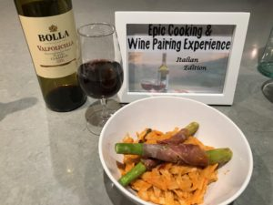 bottle of Valpolicella wine with wine pairing food