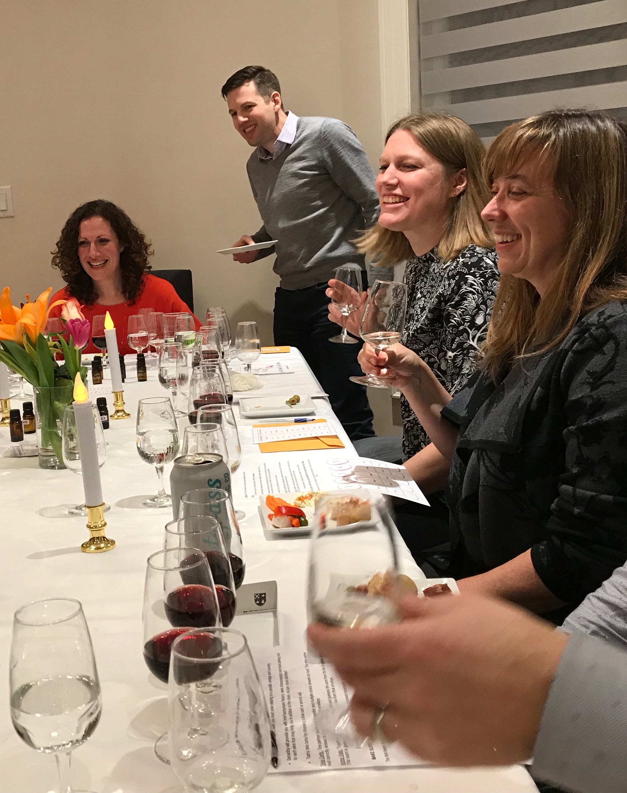 Guests playing Wine Mystery Murder game