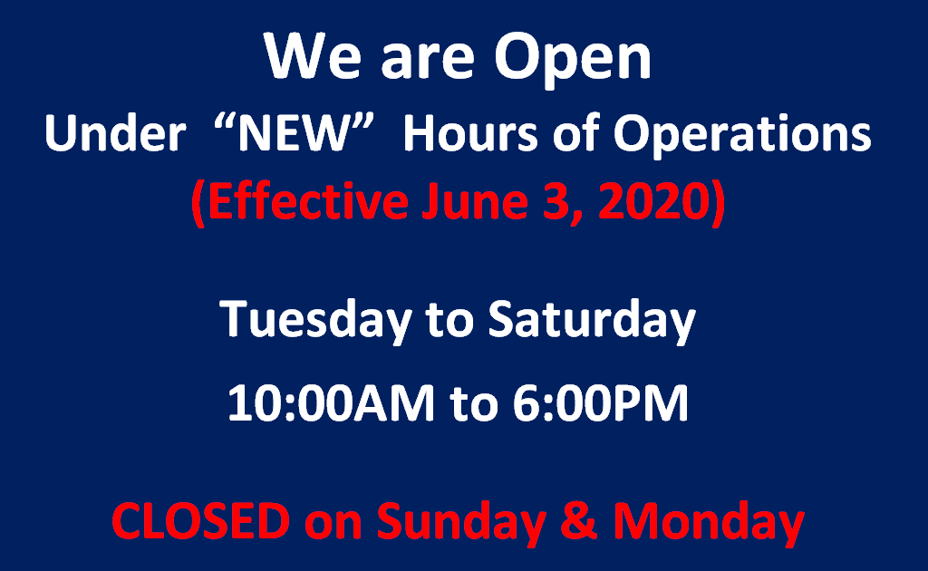 jUNE 3, 2020 museum hours revised