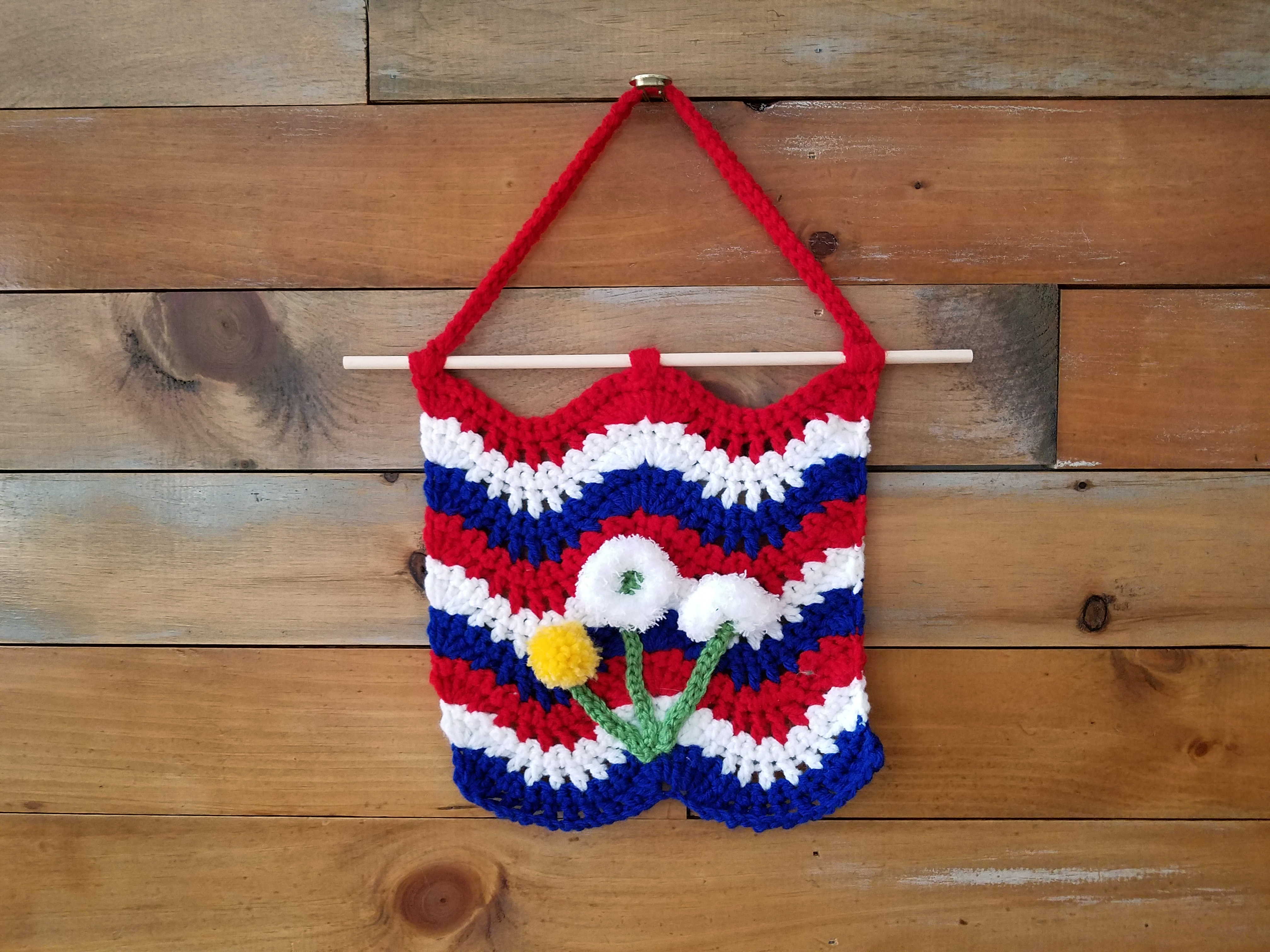Crochet Flag, red, white, blue, with 3 dandelion appliques