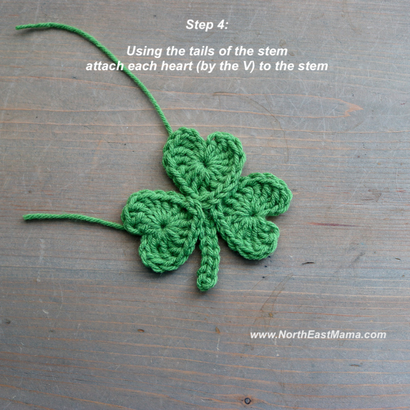 Crochet shamrock pattern step 4