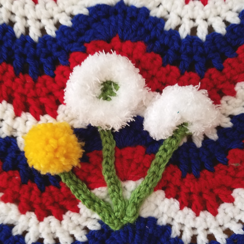 Crochet Pattern Close up of Dandelion Flower Appliques.