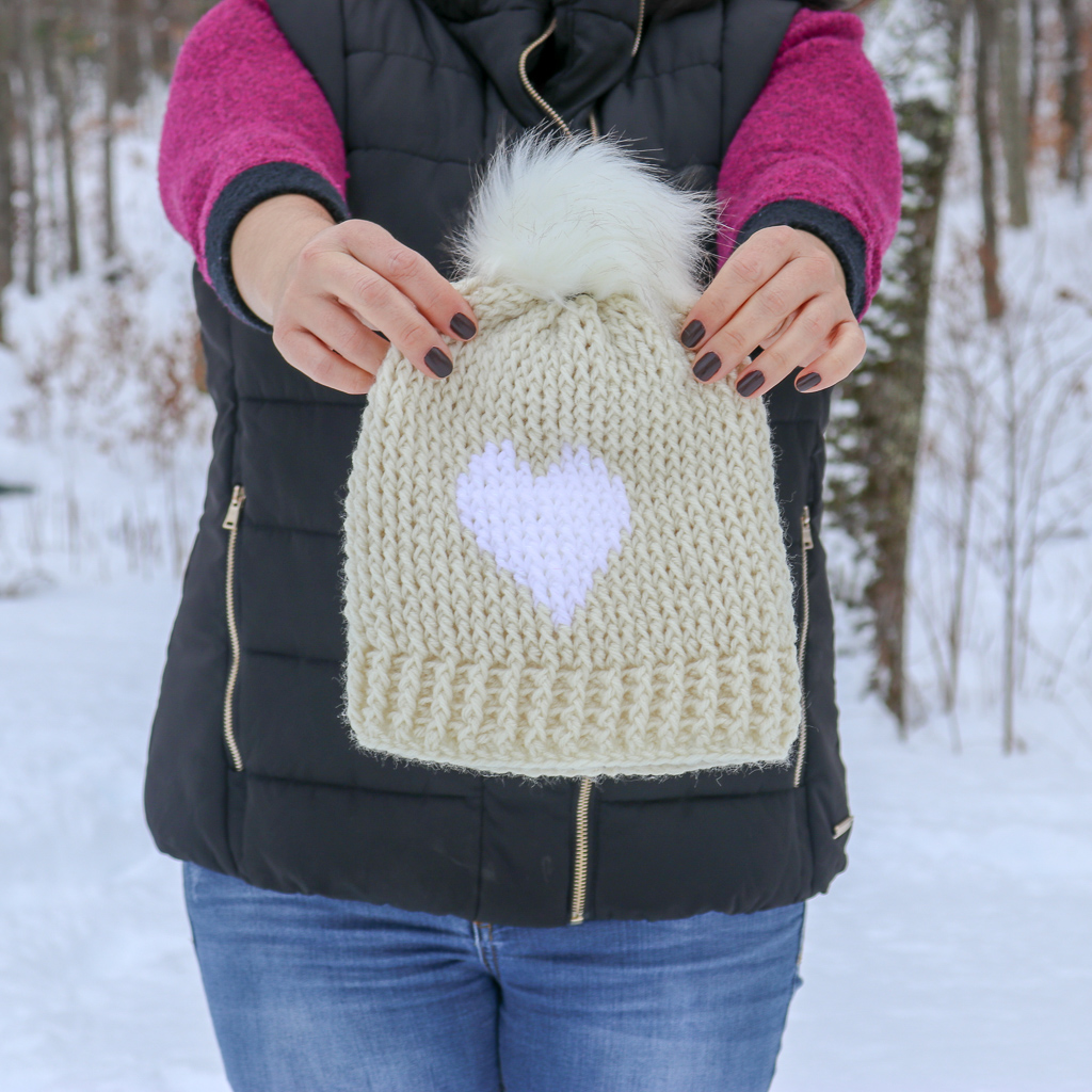 My Big Heart hat in Red Heart with Love in Aran and White with a faux fur pom-pom