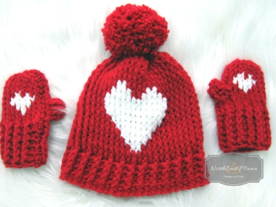My Big Heart mittens in Red Heart with Love in Red and White with a matching red yarn pom-pom
