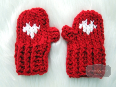 My Big Heart mittens in Red Heart with Love in Red and White