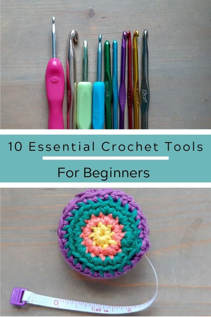 10 Essential Crochet Tools for Beginners flat lay of crochet hooks and tape measure