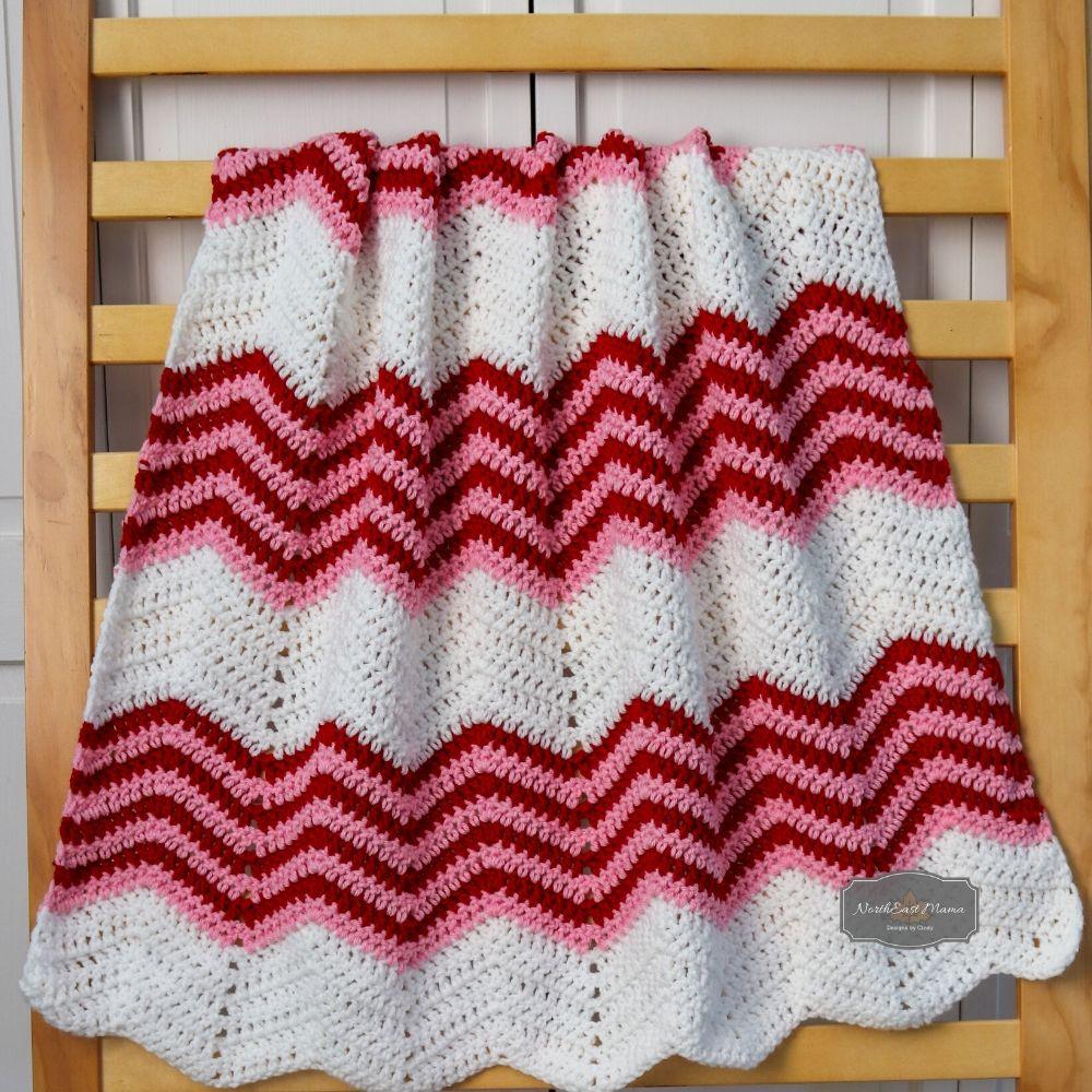 Crochet chevron hanging.