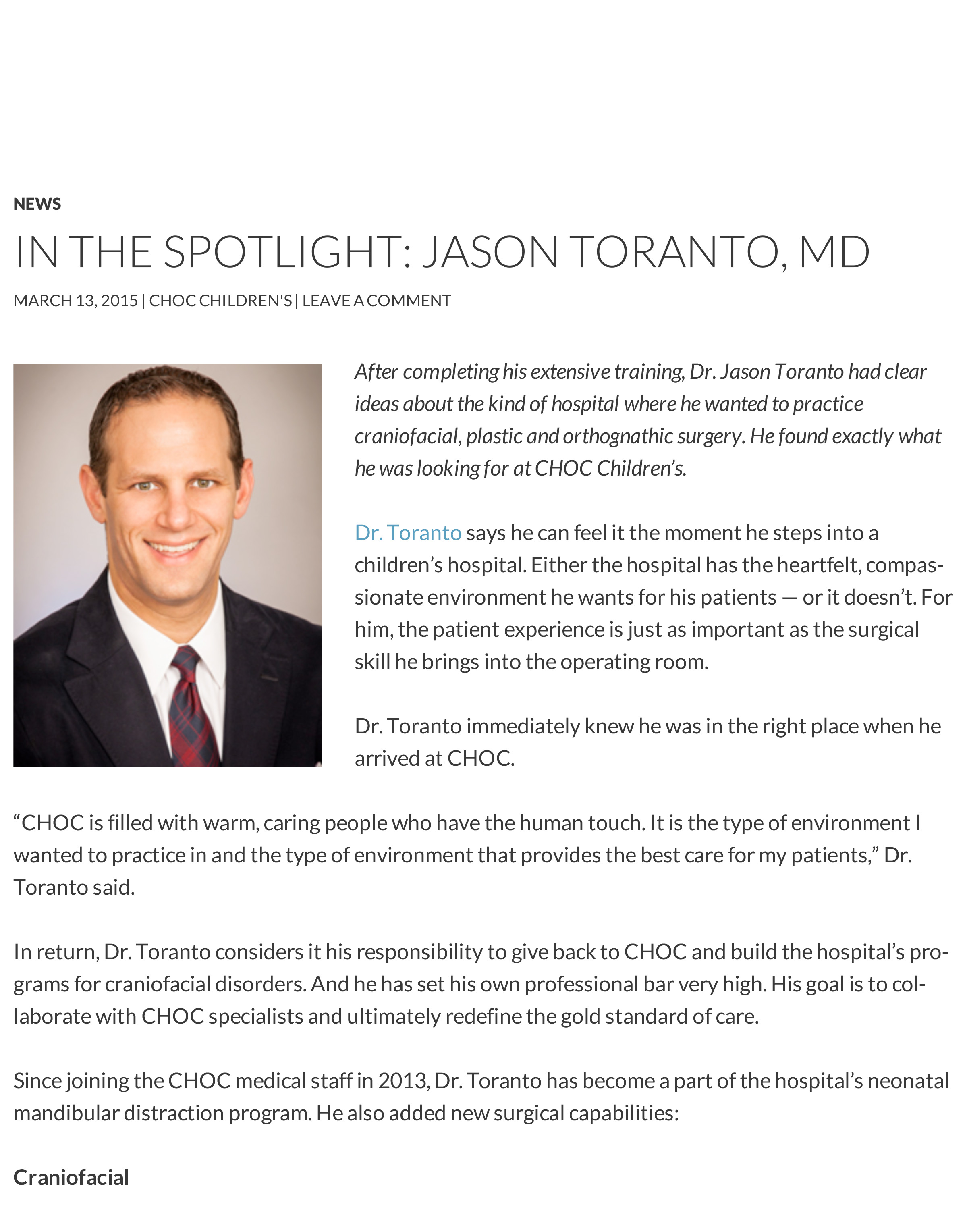 In the Spotlight_ Jason Toranto, MD - CHOC Docs Blog
