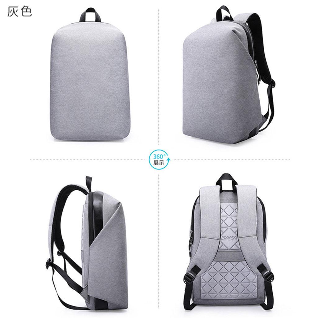素面防盜筆電後背包-灰色包包