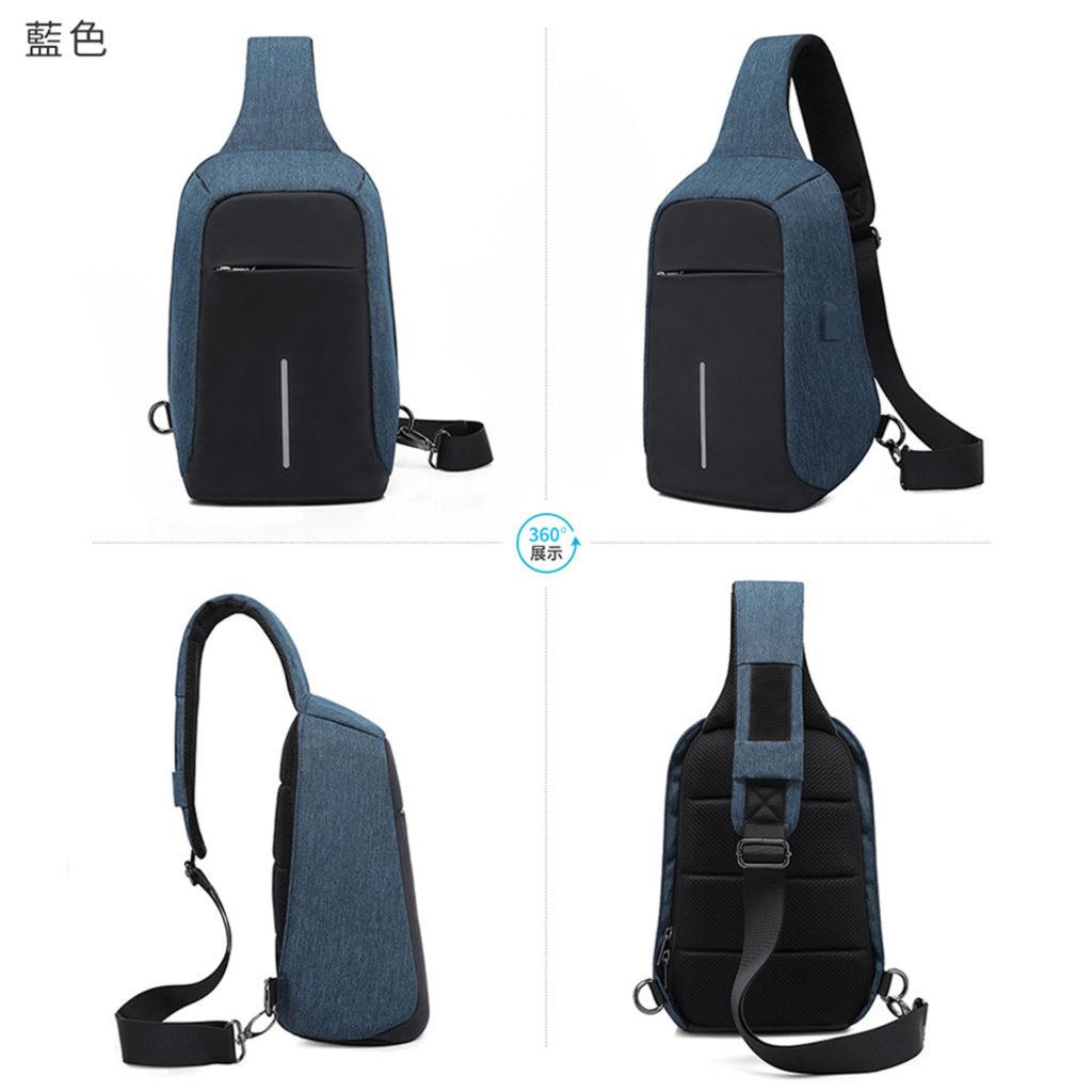 多層收納單肩防盜包-藍色男生包包