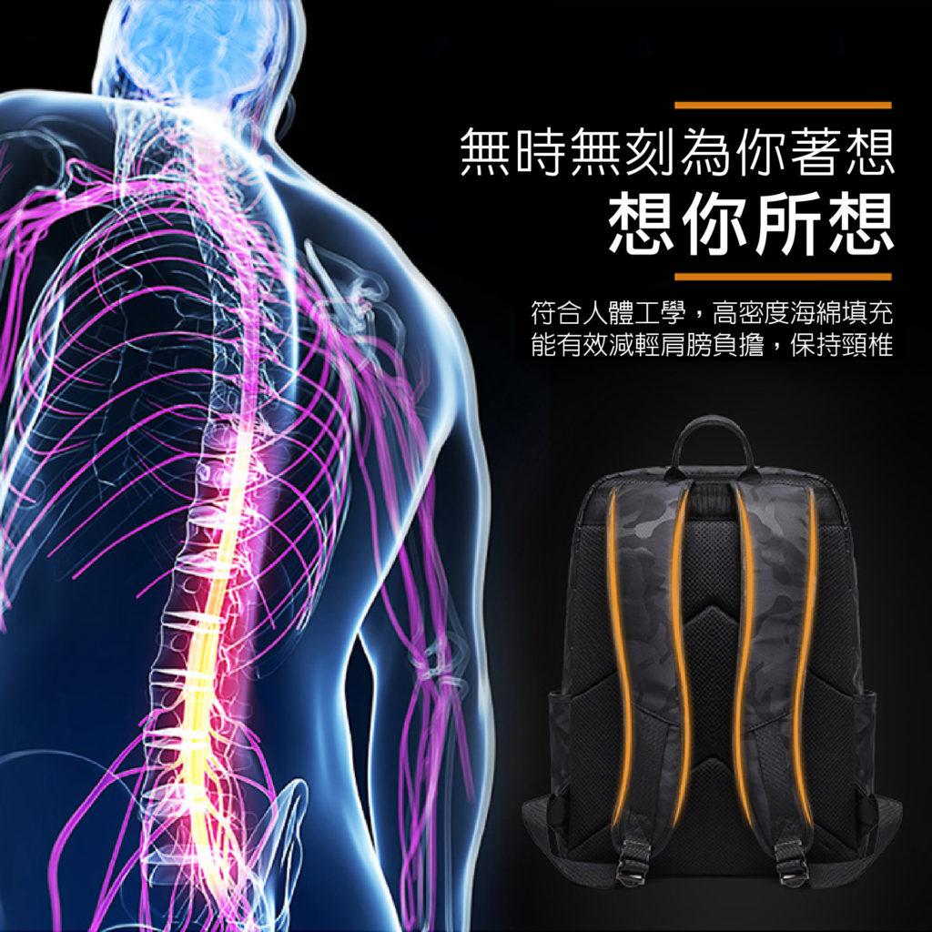 酷黑迷彩後背包-符點人體工學