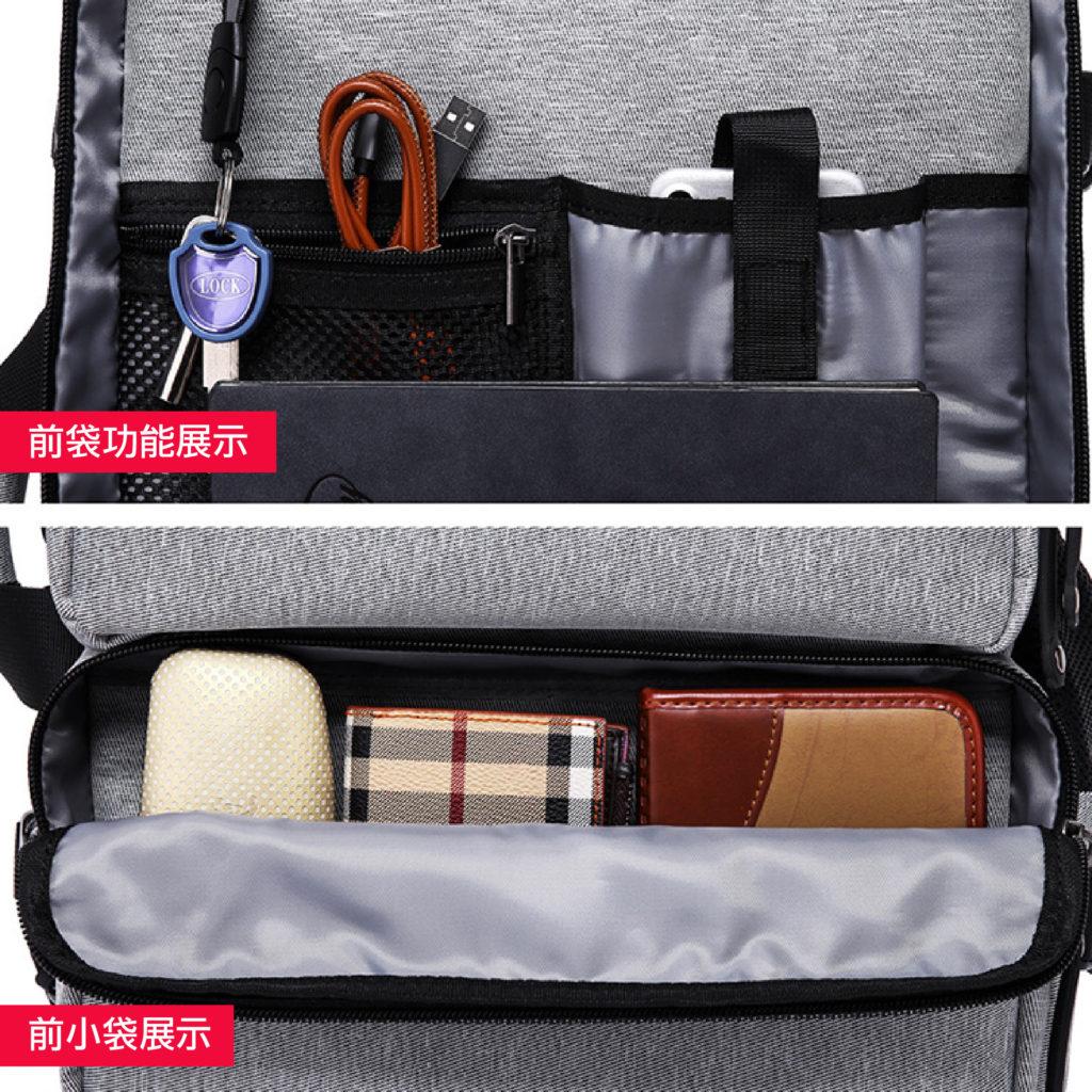 三用防盜筆電後背包-前袋展示