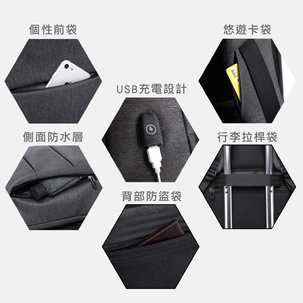 卡卡KAKA 防盜筆電後背包-防潑水