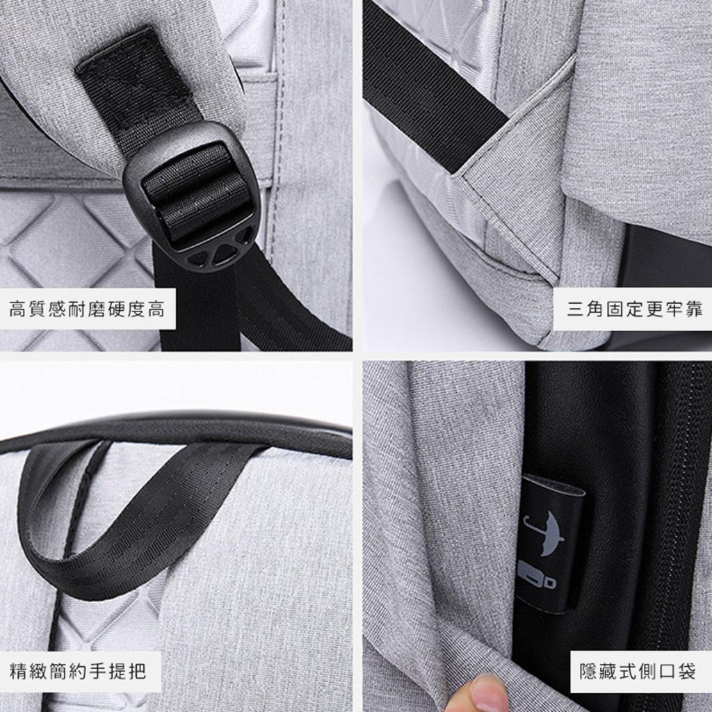 素面防盜筆電後背包-耐磨、防潑水