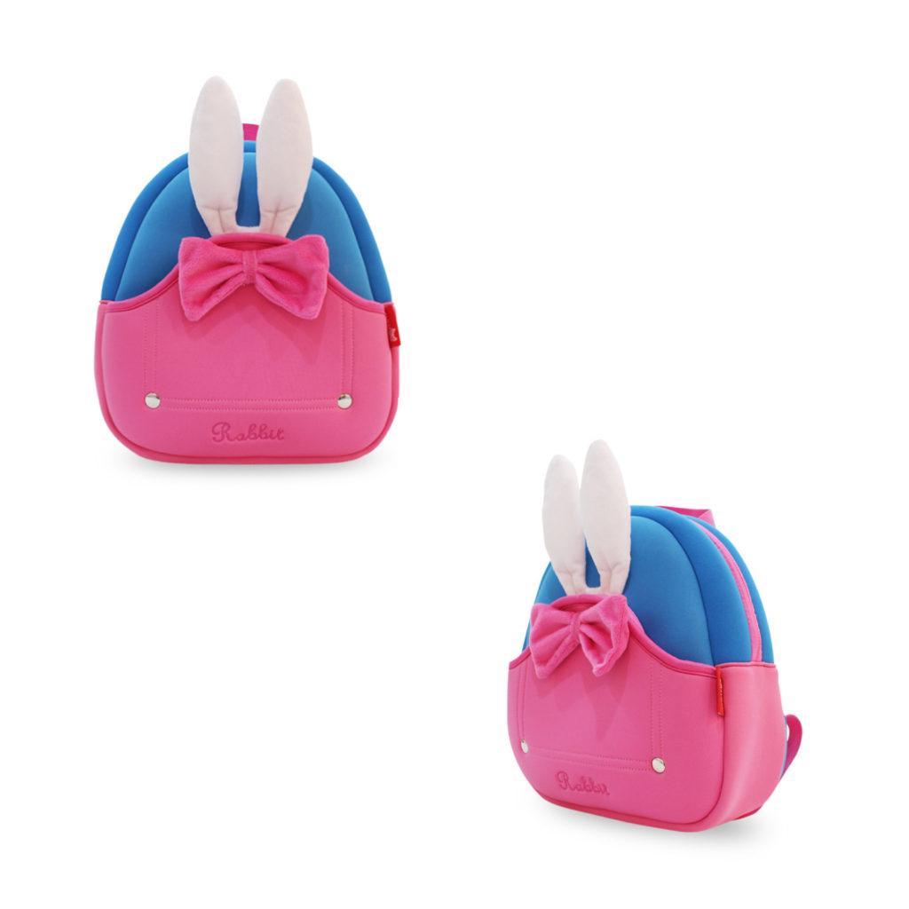 兔耳朵兒童背包-粉紅蝴蝶結