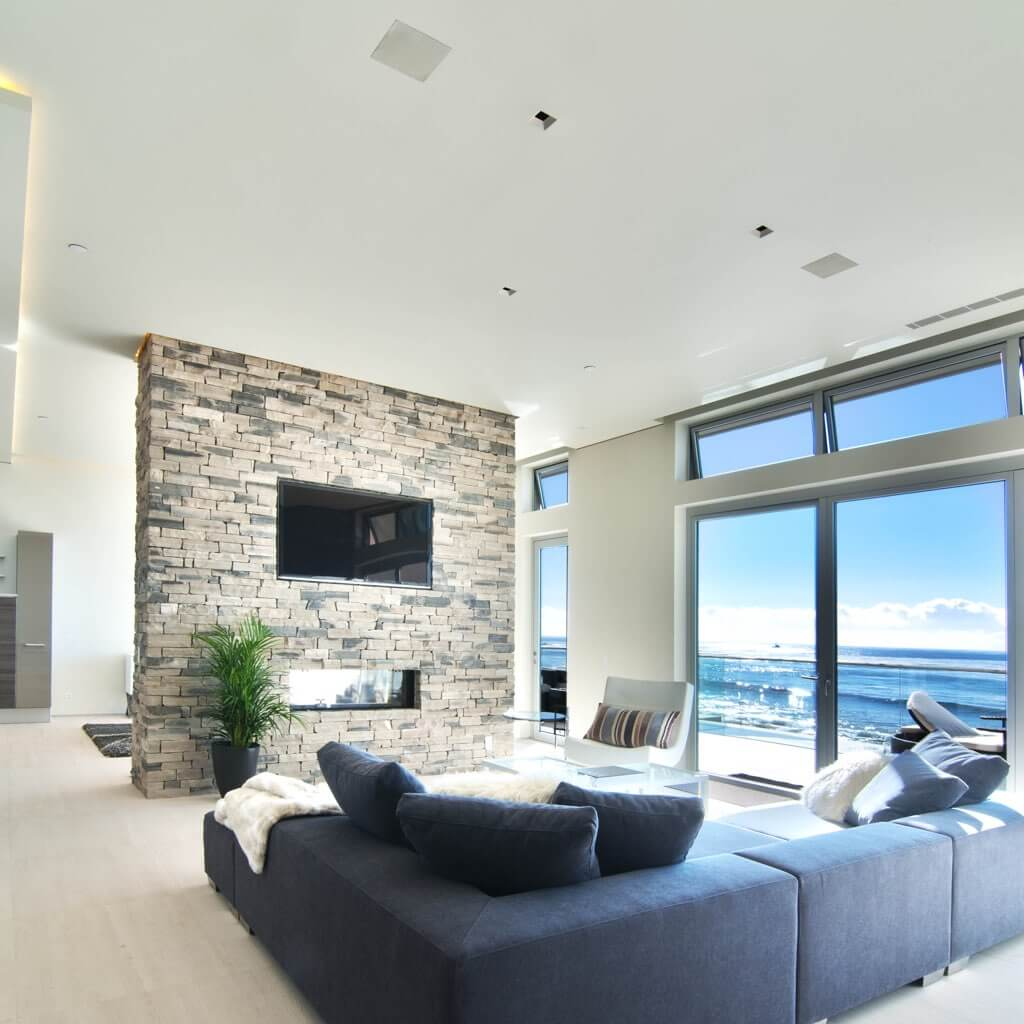 Sonance Architectural Series Medium Speakers and Subwoofers, In-ceiling in a living room, in the Miami / Fort Lauderdale area. Available at dmg Martinez Group.