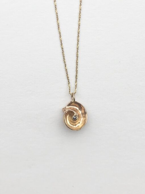 14k gold and black diamond seashell necklace with 14k gold chain